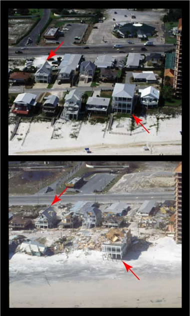 hurricane ivan storm surge damage before and after
