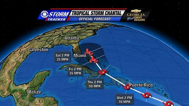 tropical storm chantal forecast error cone