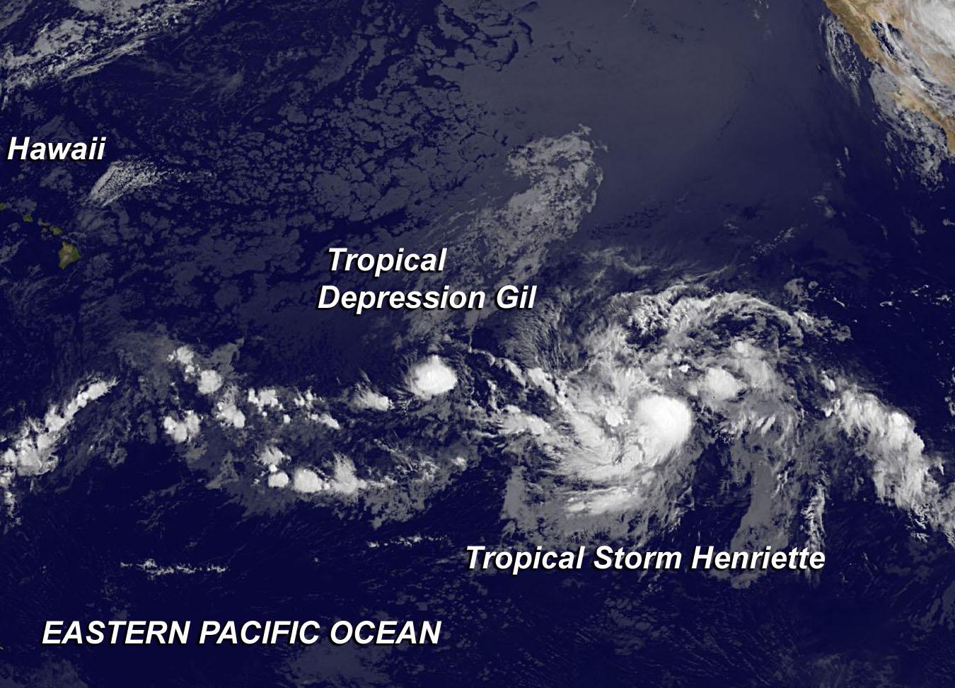 tropical depression gil, tropical storm henriette