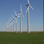 row of wind turbines on the green mountain wind farm