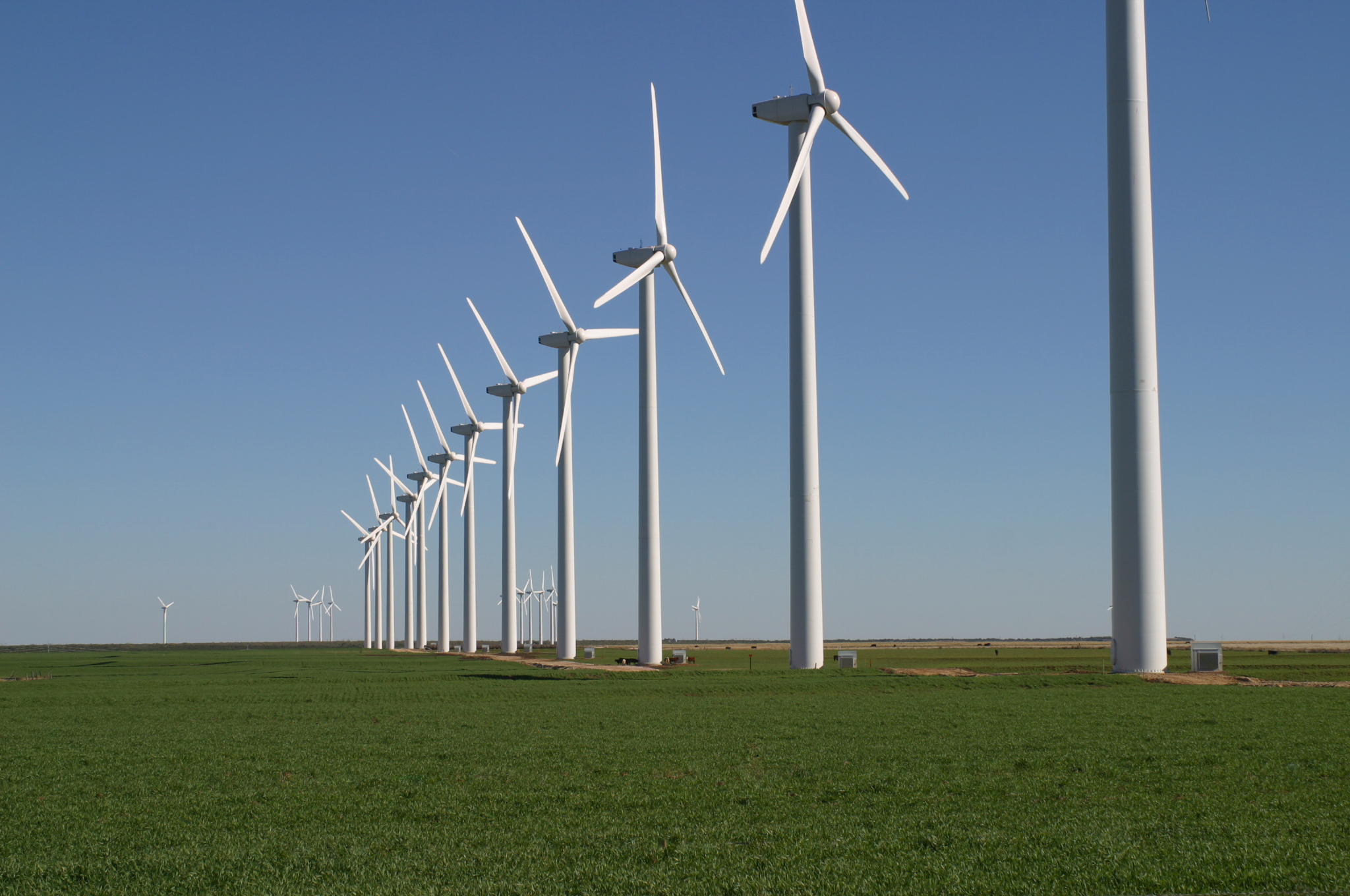 row of wind turbines on the green mountain wind farm